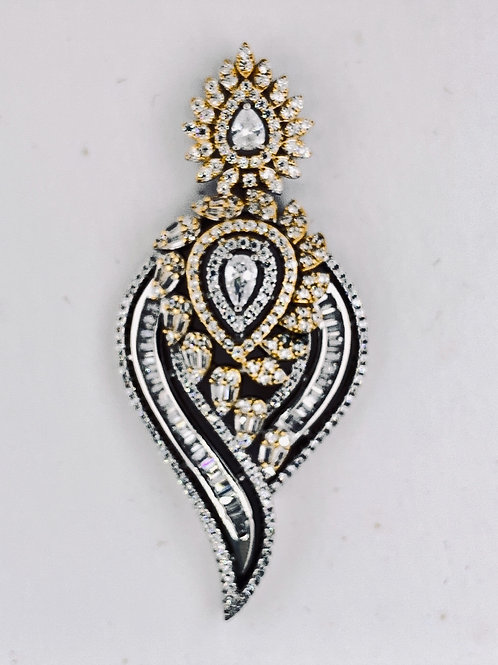 Micro Pave Two Tone Sterling Silver/CZ Pendent
