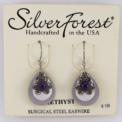 Silver Forest Amethyst Triple Layer Earrings