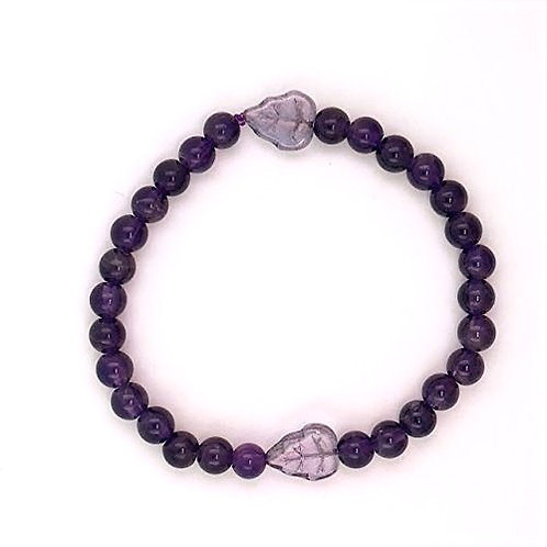 Amethyst and Bohemian Glass Bracelet