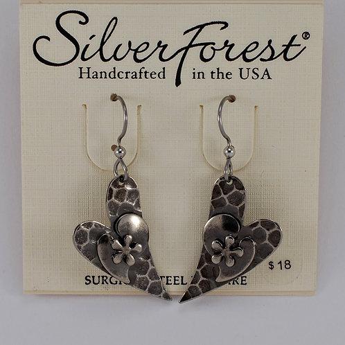 Silver Forest Flower on Heart Earrings