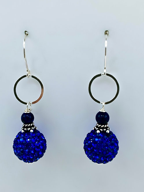 Crystal Bead and Lapis on Sterling Silver