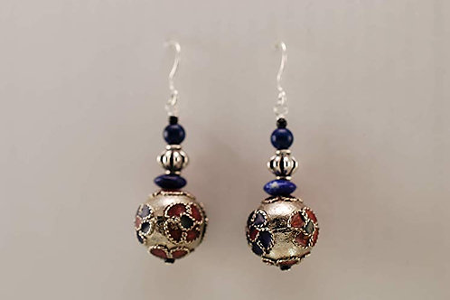 Floral Cloisonne and Lapis with Sterling Silver