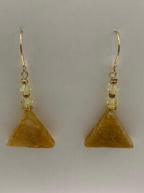Yellow Onyx Triangles w/Swarovski Crystals and 14K G/F
