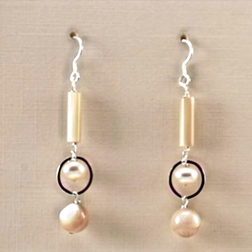 Mother of Pearl and Freshwater Pearl dangling in sterlin silver