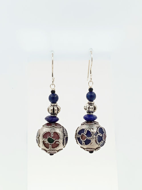 Cloisonne with Lapis on Sterling Silver