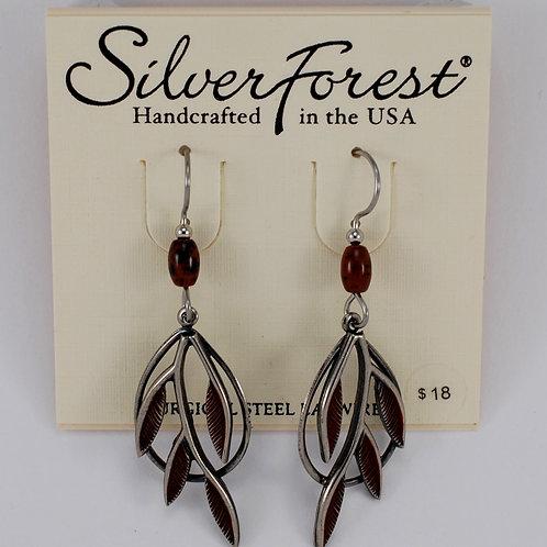Silver Forest Leafy Branch Earrings