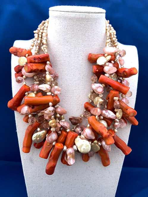 Natural Coral Pearls and Citrine