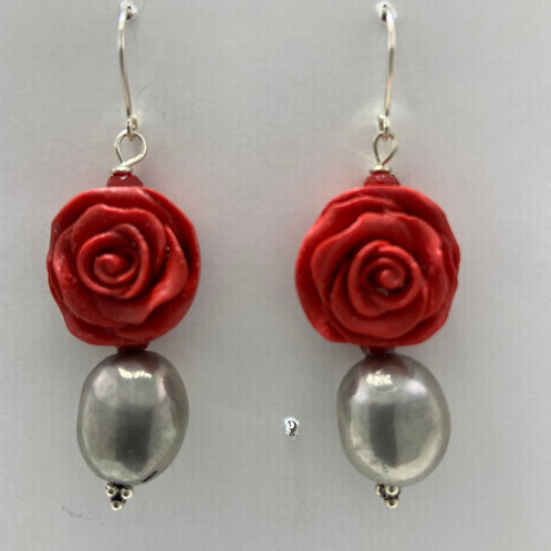 Resin Rose with Sterling Silver