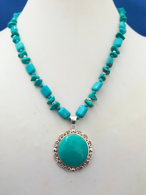 Turquoise Bezel set on Turquoise and Sterling Silver