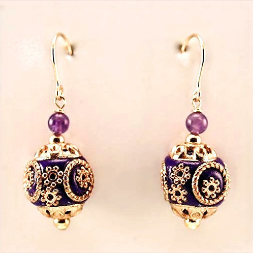 Purple and gold artisan bead & Amethyst in gold filled