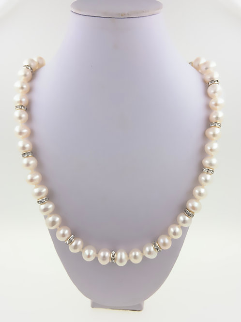 Freshwater Pearls with CZ Rondels