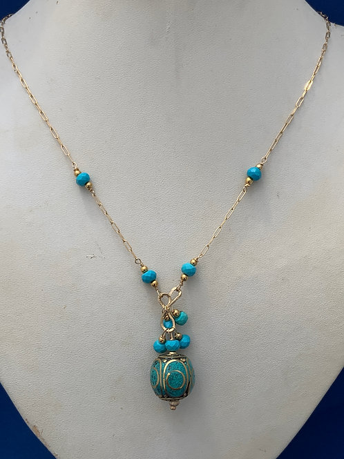 Artisan Inlaid Faceted Turquoise on 14K G/F