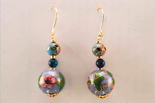 Porcelain Floral beads with Turquoise & 14KT Gold Filled