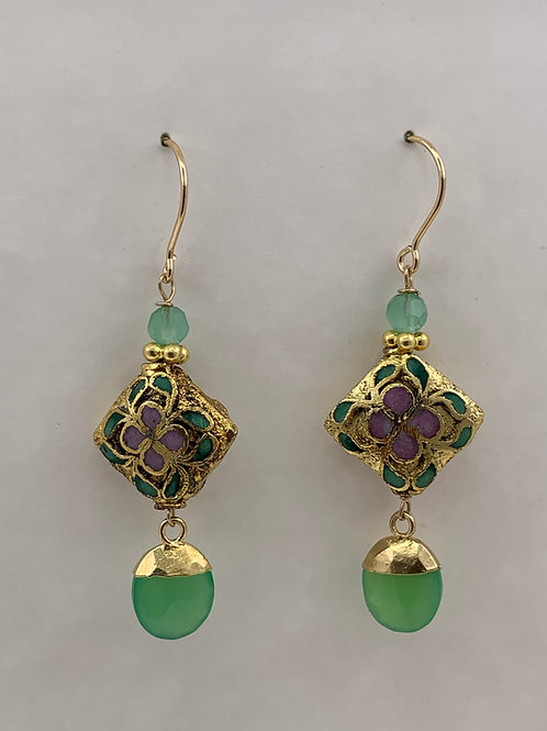 Cloisonne with chrysoprase on 14K G/F