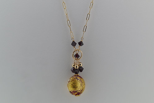 Murano gold foil bead necklace