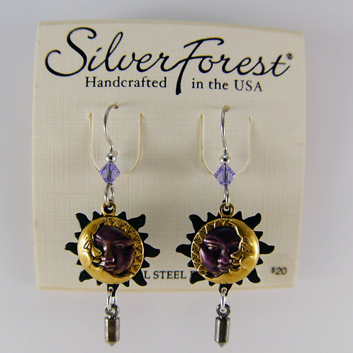 Silver Forest Sun and Moon Earrings