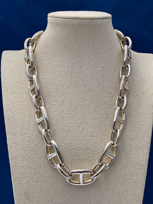 Sterling Silver Large Link Necklace.