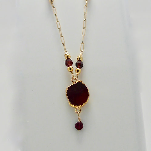 Garnet Pendent and beads on 14K Gold Filled Chain