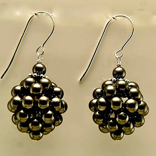 Hematite cluster with sterling silver