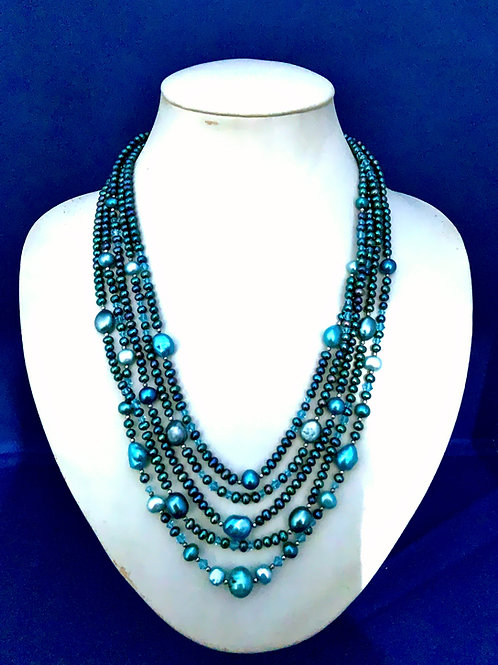 Freshwater Pearls ,Swarovski Crystals on Sterling Silver