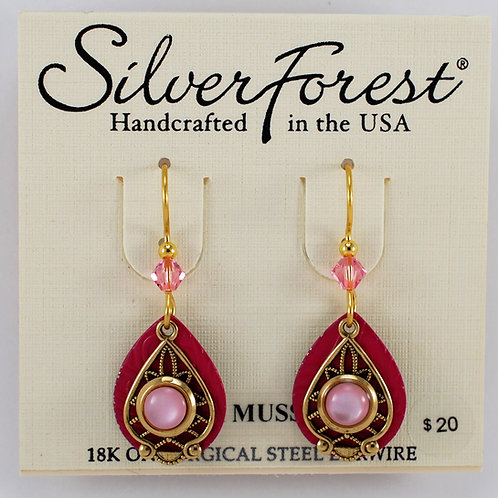 Silver Forest Pink Mussel Double Layer Earrings