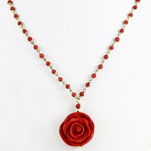 Red rose on coral beads with vermeil wire an clasp