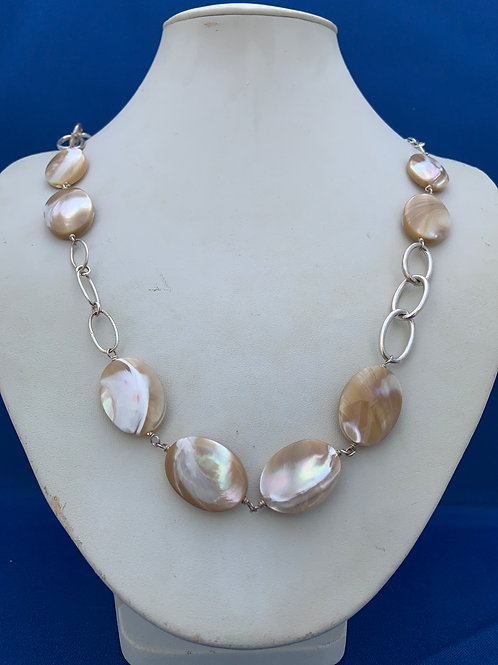 Chatoyant Natural Mother of Pearl on Sterling Silver