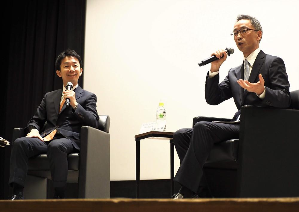 株式会社丸井グループ代表取締役社長青井氏とミナケア山本のトークセッション
