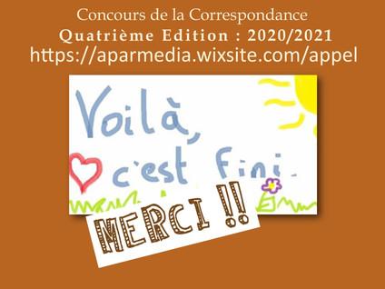 CONCOURS DE LA CORRESPONDANCE : DERNIERE SEMAINE