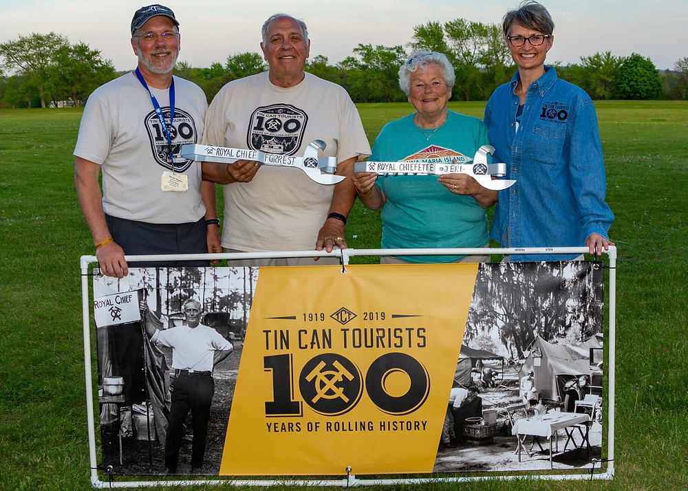 My wife and I (on the outside) with my parents Forrest and Jeri Bone (in the middle) that restarted the club in 1998. The picture was taken during the clubs centennial celebration in 2019 and at my parents' retirement.