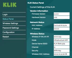 KLIK Boks CLASSIC Status Panel