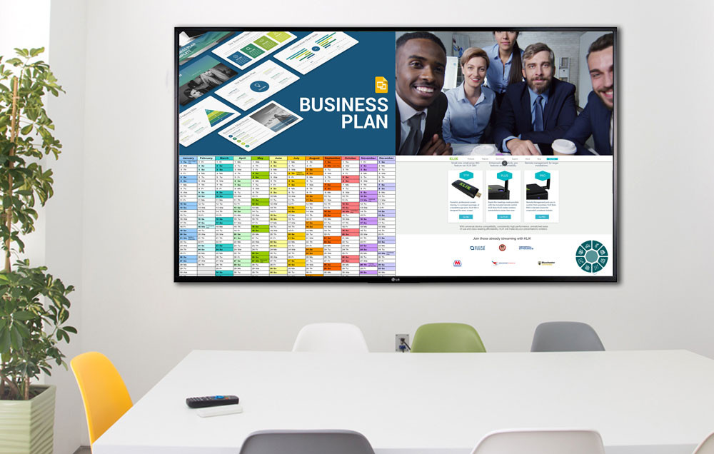 Combine content from wired and wireless devices, along with a live video feed, and display it all on the split screen.