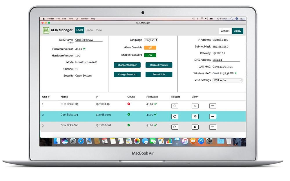KLIK Manager App for Central Management of KLIK Boks