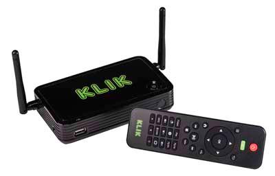 KLIK Boks PLUS includes a wireless, multi-function, remote control.