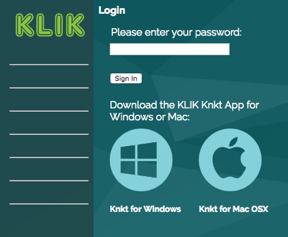 Download KLIK Knkt apps right from the KLIK Boks CLASSIC