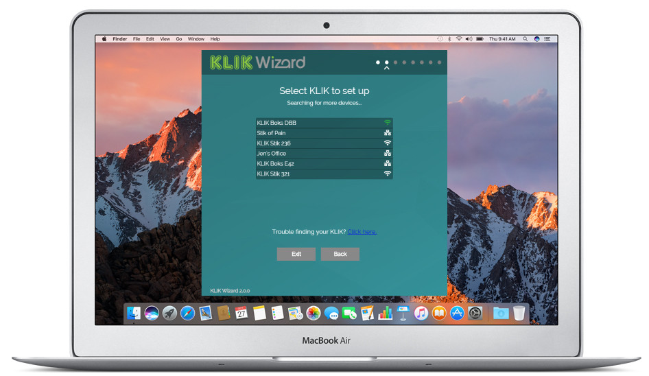 There's no faster or easier way to get your KLIK set up than by using the KLIKWizard app.