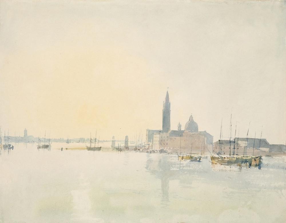 Turner (1775 – 1851), Venise: San Giorgio Maggiore – tôt le matin, 1819, aquarelle sur papier, 22,3 x 28,7 cm Tate, accepté par la nation dans le cadre du legs Turner 1856, Photo © Tate
