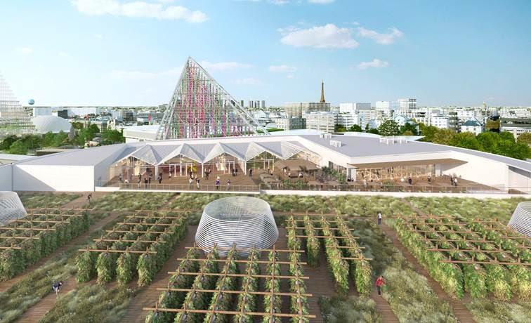 Simulation 3D du toit du Pavillon 6 du Parc des Expositions, avec le Perchoir et la ferme urbaine. Crédit photo : Viparis
