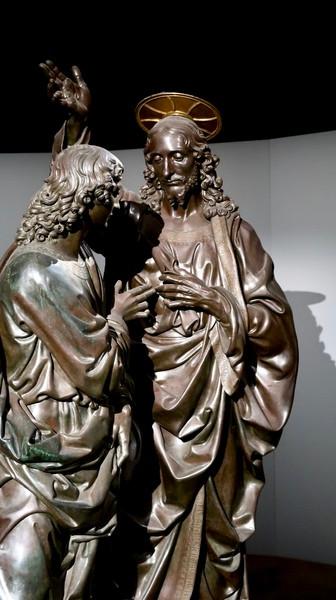 Andrea del Verrocchio (Florence, vers 1435 – Venise, 1488), L'Incrédulité de saint Thomas, 1467-1483. Bronze aux inscriptions dorées. H. 230 cm. Florence, Orsanmichele, Museo Nazionale del Bargello