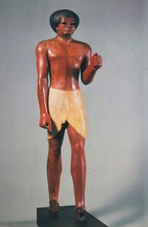 """A estátua Funerária que deu origem à polémica """"vraie au fausse?"""" Egipto. Império Médio, XI dinastia (?), c. 2000 a.C. Mdeira Policroma."""