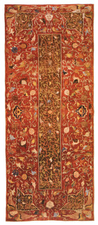 Tapete com inscrições islâmicas. Pérsia. Tabriz (?), séc. XVI. Seda.236 x 93 cm.