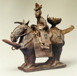 Jarro em forma de cavalo com seu cav