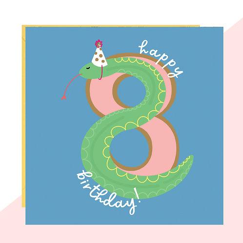8th Birthday Snake Card