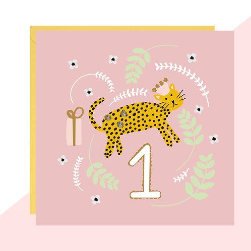 1st Birthday Leopard Card