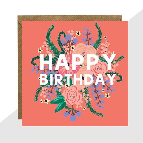 'Happy Birthday' Floral Card