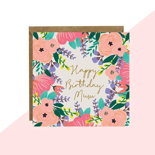 'Happy Birthday Mum' Floral Mini Card