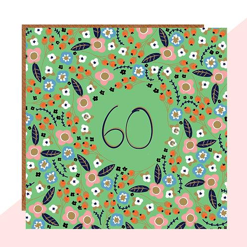 60th Birthday Floral Card