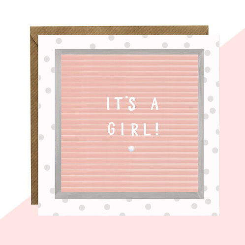 'It's a Girl!' Message Board Card