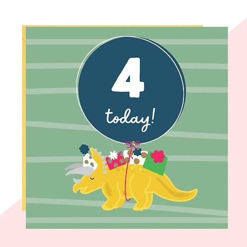 4th Birthday Dinosaur Card
