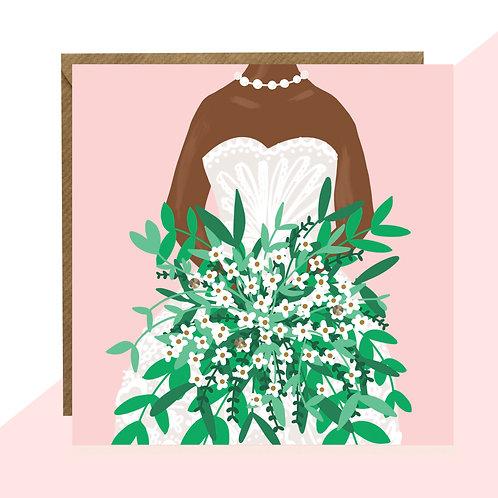 Bride & Bouquet Wedding Card